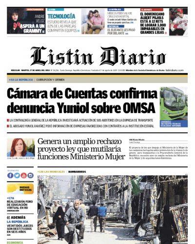 Portada Periódico Listín Diario, Martes 17 de Abril 2018