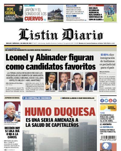 Portada Periódico Listín Diario, Miércoles 04 de Abril 2018