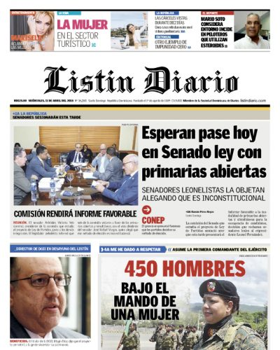 Portada Periódico Listín Diario, Miércoles 11 de Abril 2018
