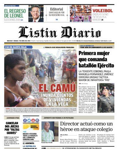 Portada Periódico Listín Diario, Sábado 07 de Abril 2018