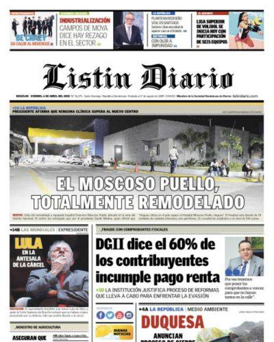 Portada Periódico Listín Diario, Viernes 06 de Abril 2018