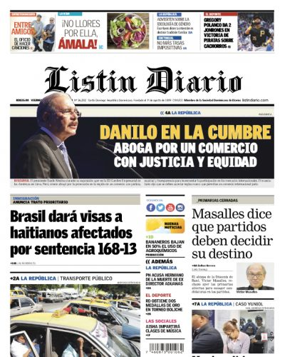 Portada Periódico Listín Diario, Viernes 13 de Abril 2018