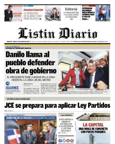 Portada Periódico Listín Diario, Jueves 9 de Agosto 2018