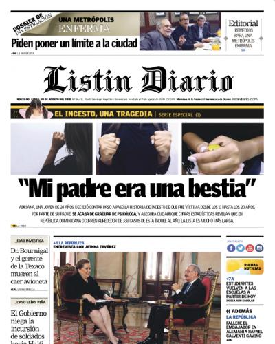 Portada Periódico Listín Diario, Lunes 20 de Agosto 2018
