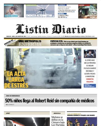 Portada Periódico Listín Diario, Lunes 6 de Agosto 2018