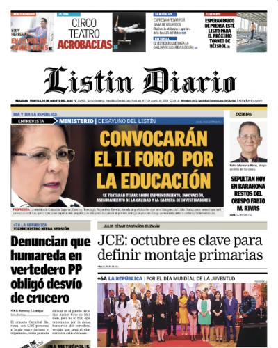 Portada Periódico Listín Diario, Martes 14 de Agosto 2018