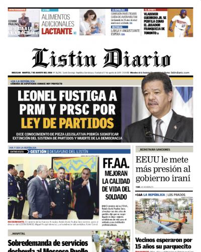 Portada Periódico Listín Diario, Martes 7 de Agosto 2018