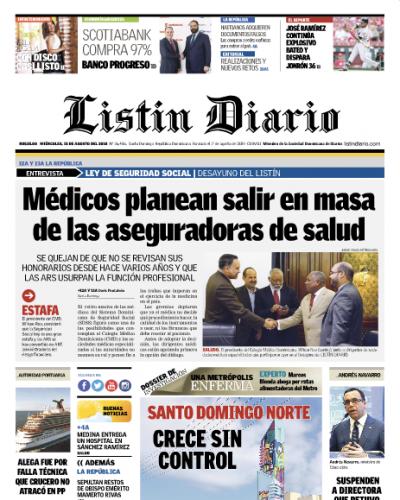 Portada Periódico Listín Diario, Miércoles 15 de Agosto 2018