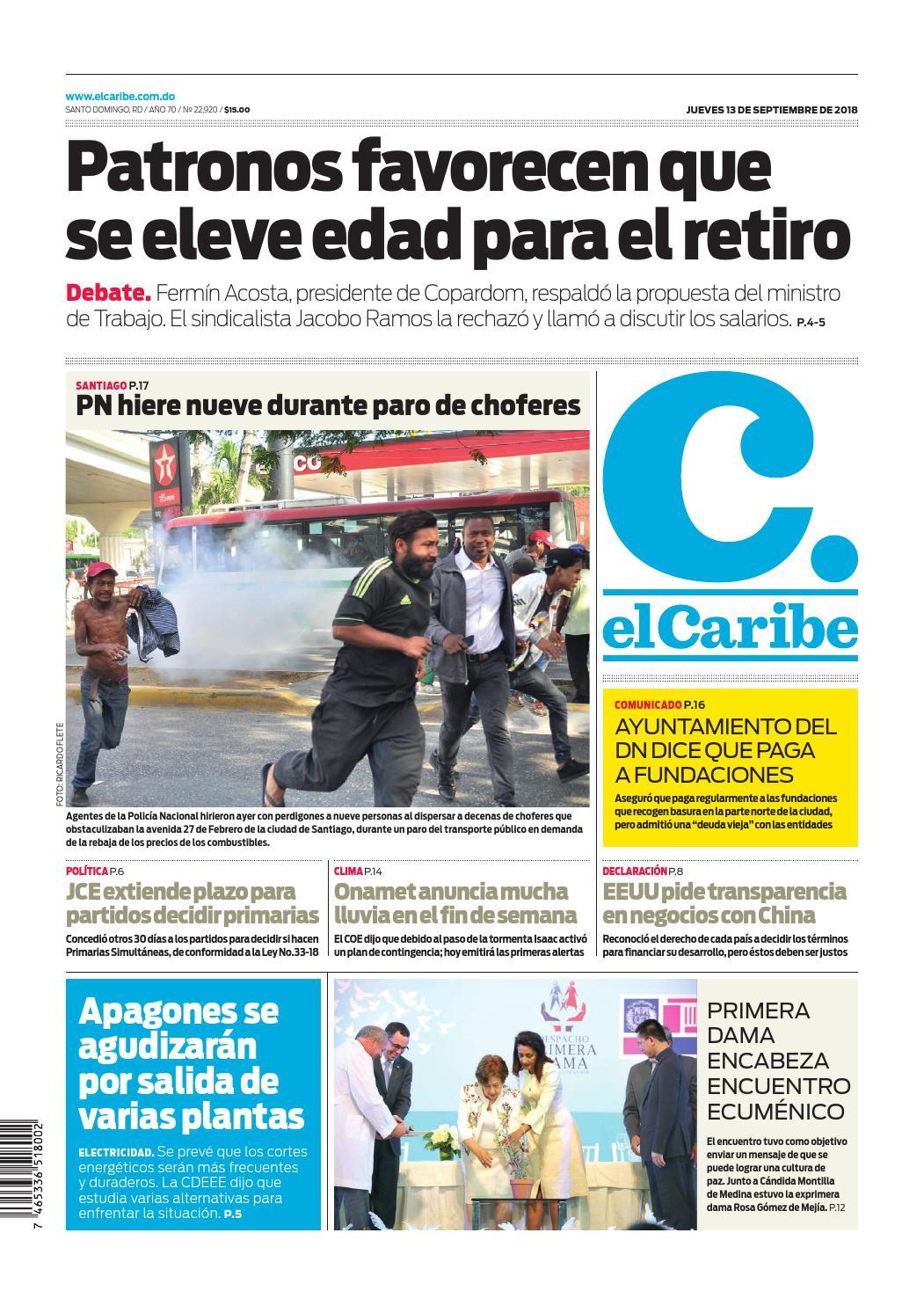 Portada Periódico El Caribe, Jueves 13 de Septiembre 2018