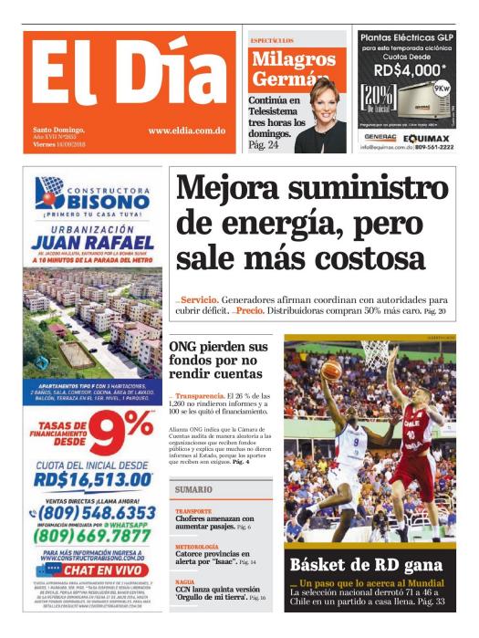 Portada Periódico El Día, Viernes 14 de Septiembre 2018