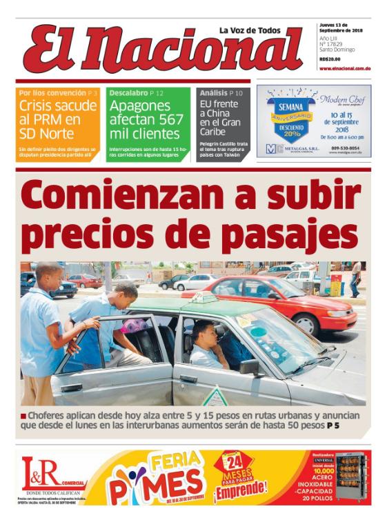 Portada Periódico El Nacional, Jueves 13 de Septiembre 2018