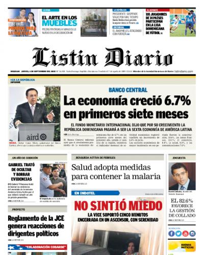 Portada Periódico Listín Diario, Jueves 07 de Septiembre 2018