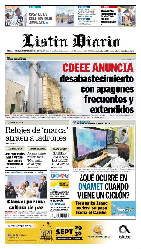 Portada Periódico Listín Diario, Jueves 13 de Septiembre 2018