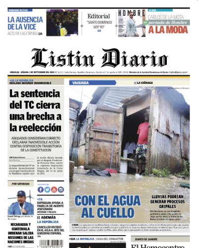 Portada Periódico Listín Diario, Sábado 01 de Septiembre 2018
