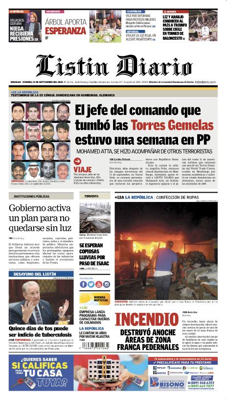 Portada Periódico Listín Diario, Viernes 14 de Septiembre 2018