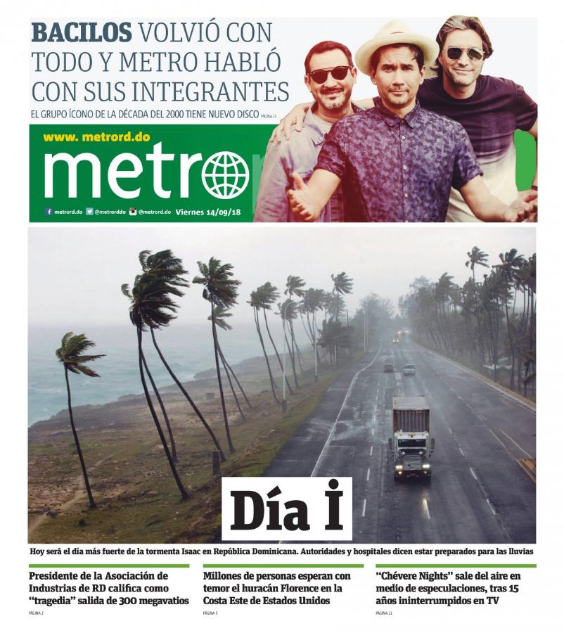 Portada Periódico Metro, Viernes 14 de Septiembre 2018