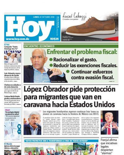 Portada Periódico Hoy, Lunes 22 de Octubre 2018