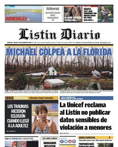 Portada Periódico Listín Diario, Jueves 11 de Octubre 2018