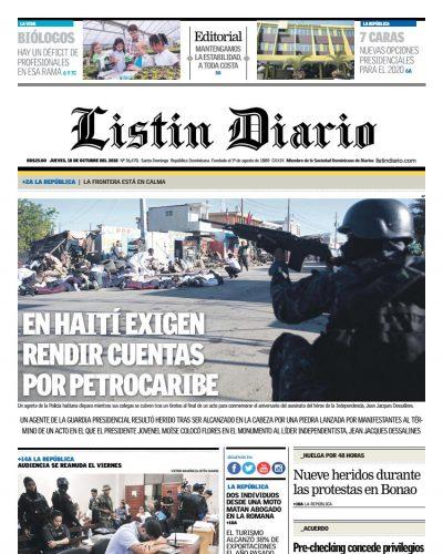 Portada Periódico Listín Diario, Jueves 18 de Octubre 2018