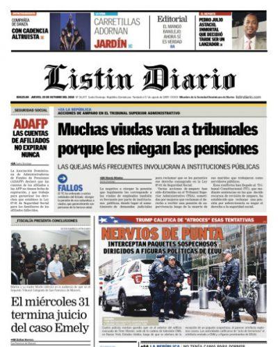 Portada Periódico Listín Diario, Jueves 25 de Octubre 2018