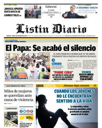 Portada Periódico Listín Diario, Lunes 08 de Octubre 2018