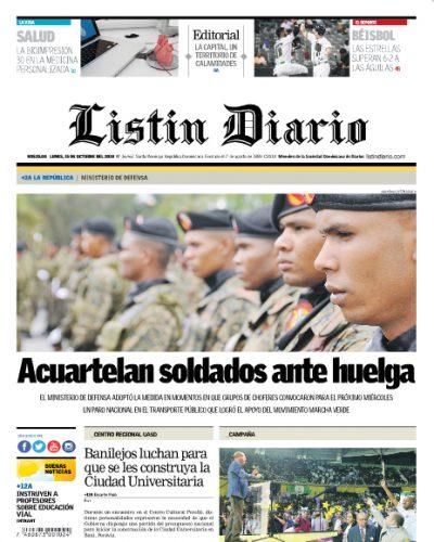 Portada Periódico Listín Diario, Lunes 15 de Octubre 2018