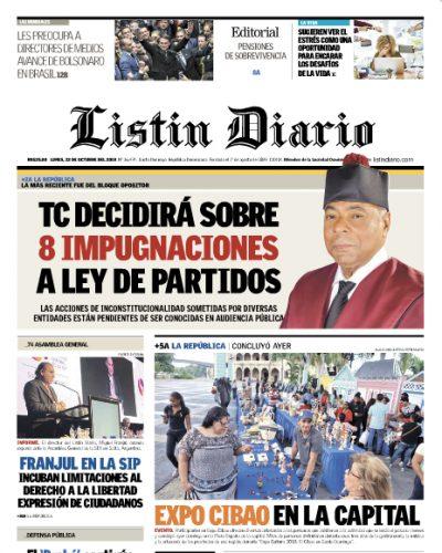Portada Periódico Listín Diario, Lunes 22 de Octubre 2018