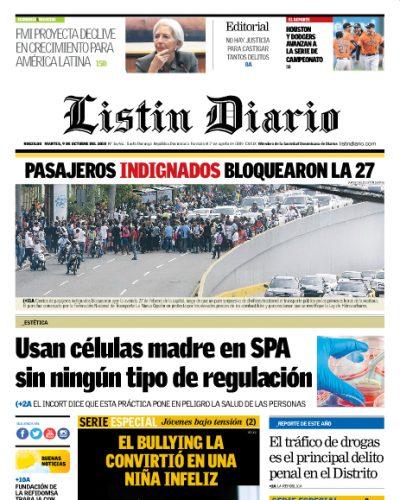 Portada Periódico Listín Diario, Martes 09 de Octubre 2018