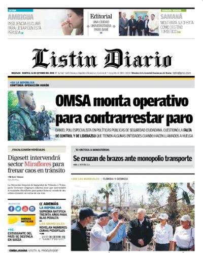 Portada Periódico Listín Diario, Martes 16 de Octubre 2018