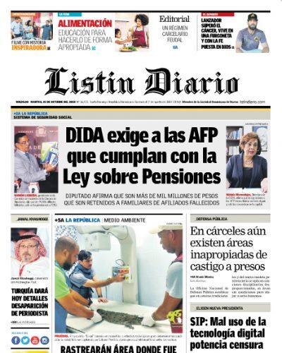 Portada Periódico Listín Diario, Martes 23 de Octubre 2018