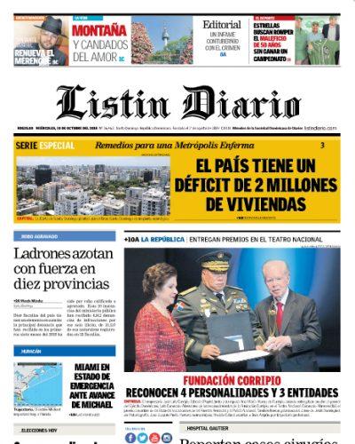 Portada Periódico Listín Diario, Miércoles 10 de Octubre 2018