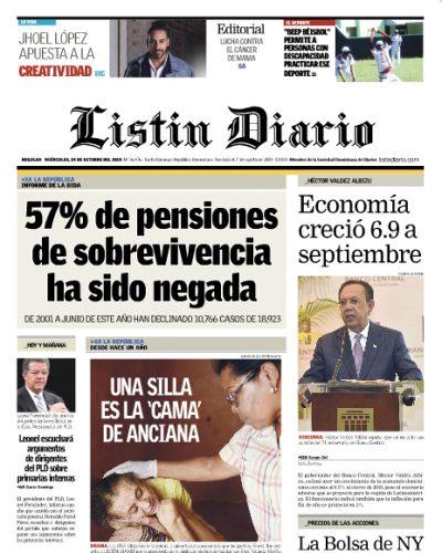 Portada Periódico Listín Diario, Miércoles 24 de Octubre 2018