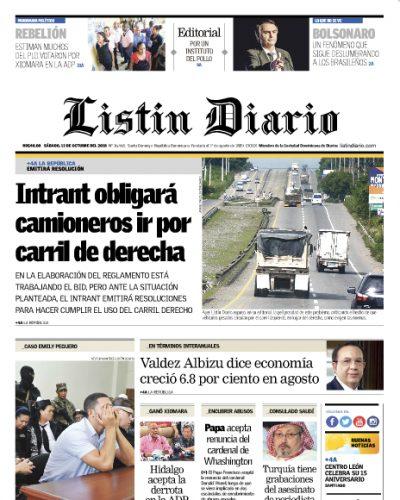 Portada Periódico Listín Diario, Sábado 13 de Octubre 2018