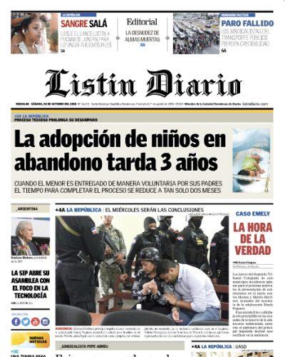 Portada Periódico Listín Diario, Sábado 20 de Octubre 2018
