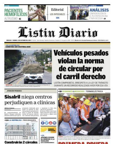 Portada Periódico Listín Diario, Viernes 12 de Octubre 2018