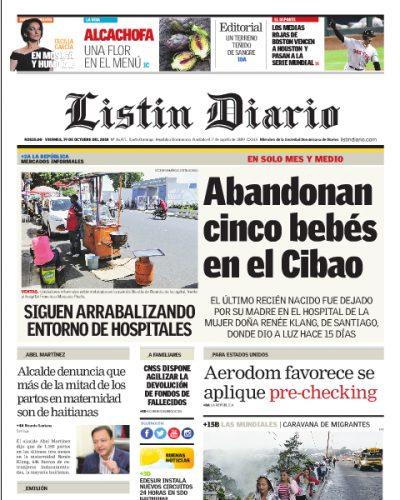 Portada Periódico Listín Diario, Viernes 19 de Octubre 2018