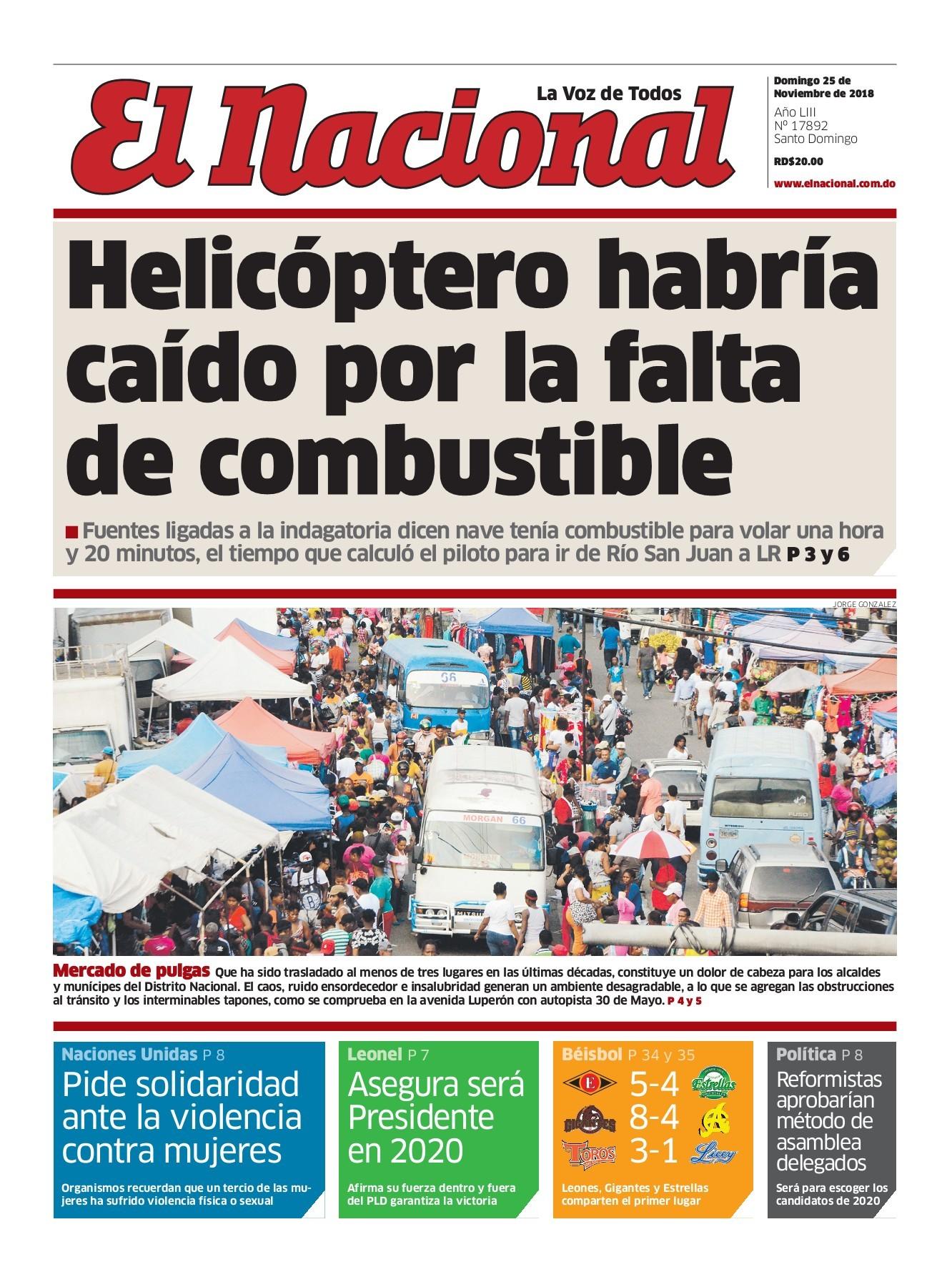 Portada Periódico El Nacional, Domingo 25 de Noviembre 2018