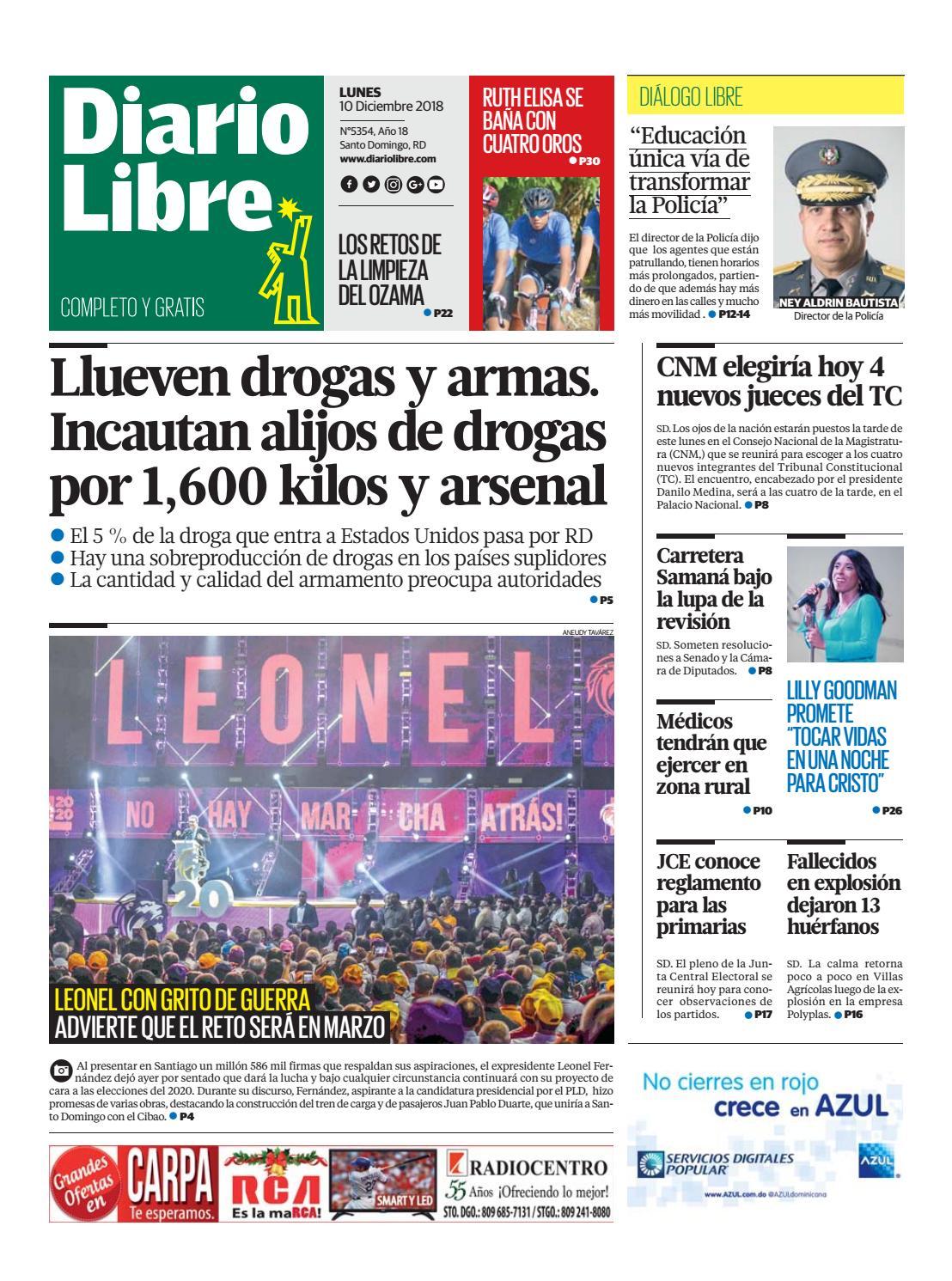 Portada Periódico Diario Libre, Lunes 10 de Diciembre 2018