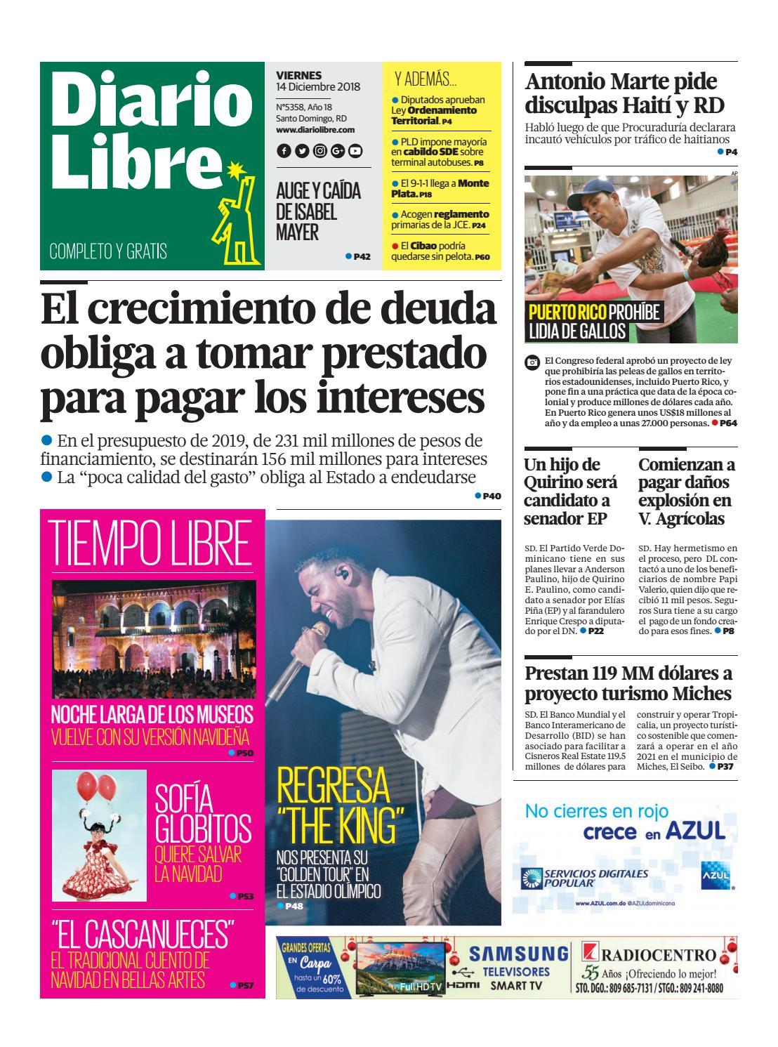 Portada Periódico Diario Libre, Viernes 14 de Diciembre 2018