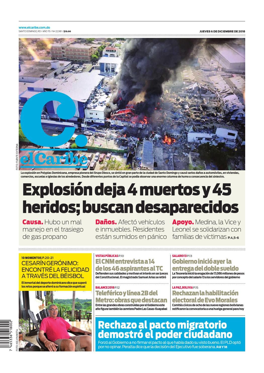 Portada Periódico El Caribe, Jueves 06 de Diciembre 2018