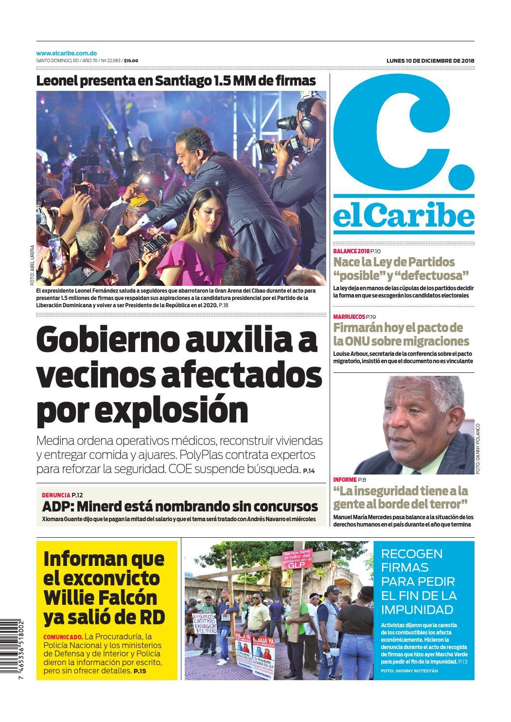 Portada Periódico El Caribe, Lunes 10 de Diciembre 2018