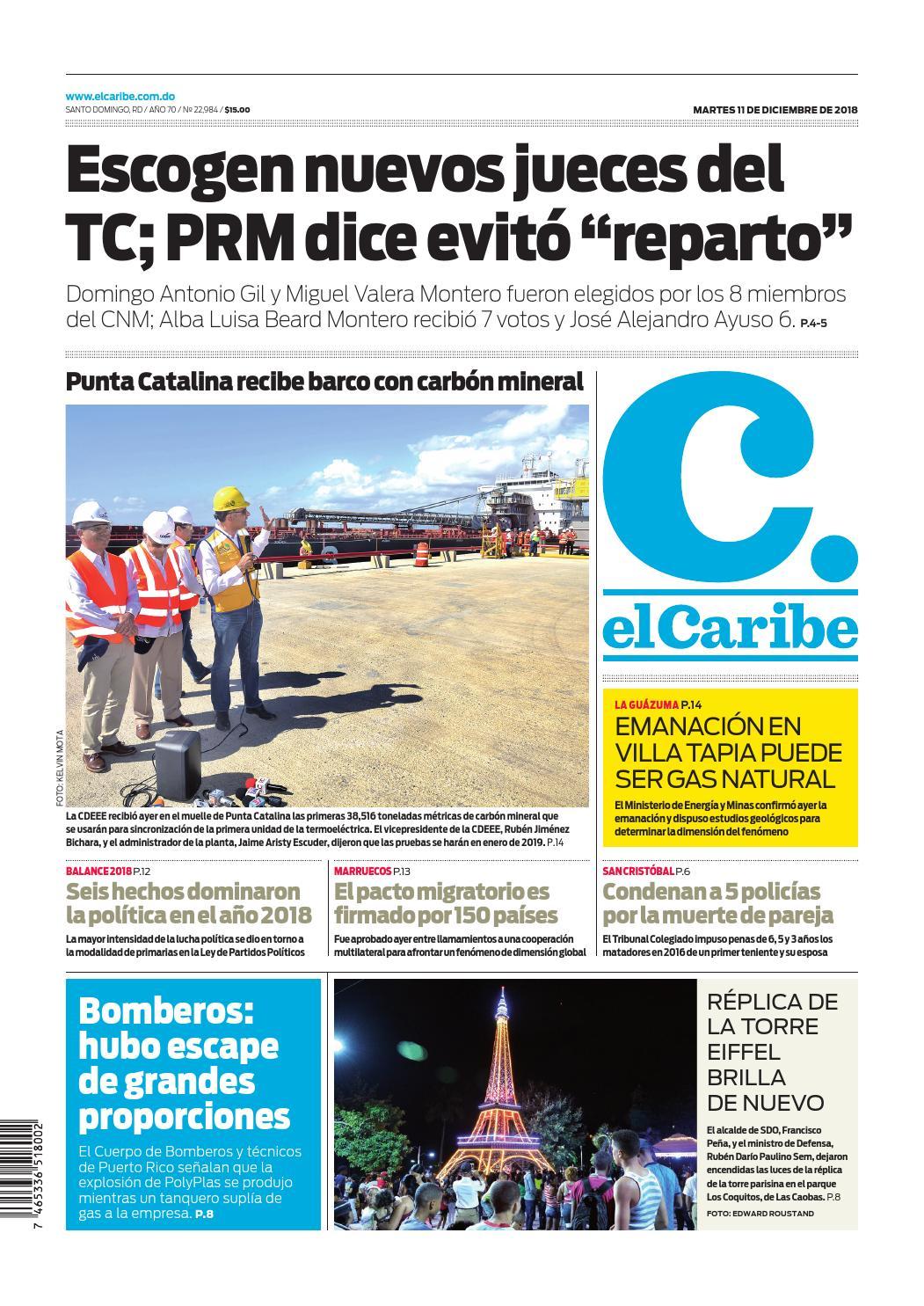 Portada Periódico El Caribe, Martes 11 de Diciembre 2018
