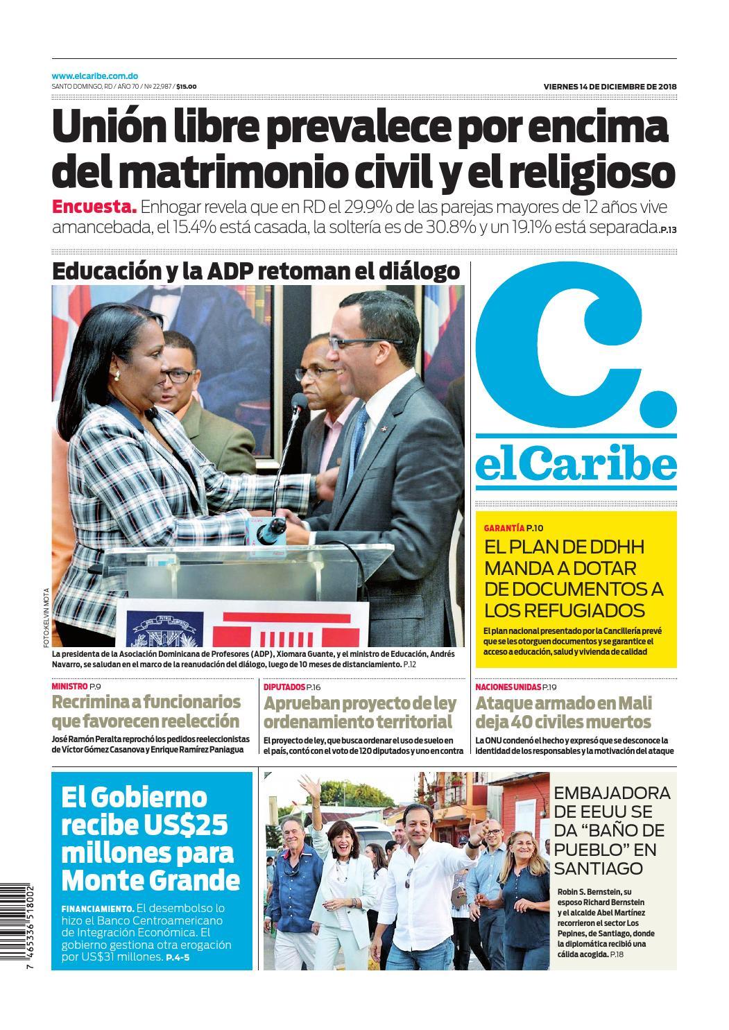 Portada Periódico El Caribe, Viernes 14 de Diciembre 2018