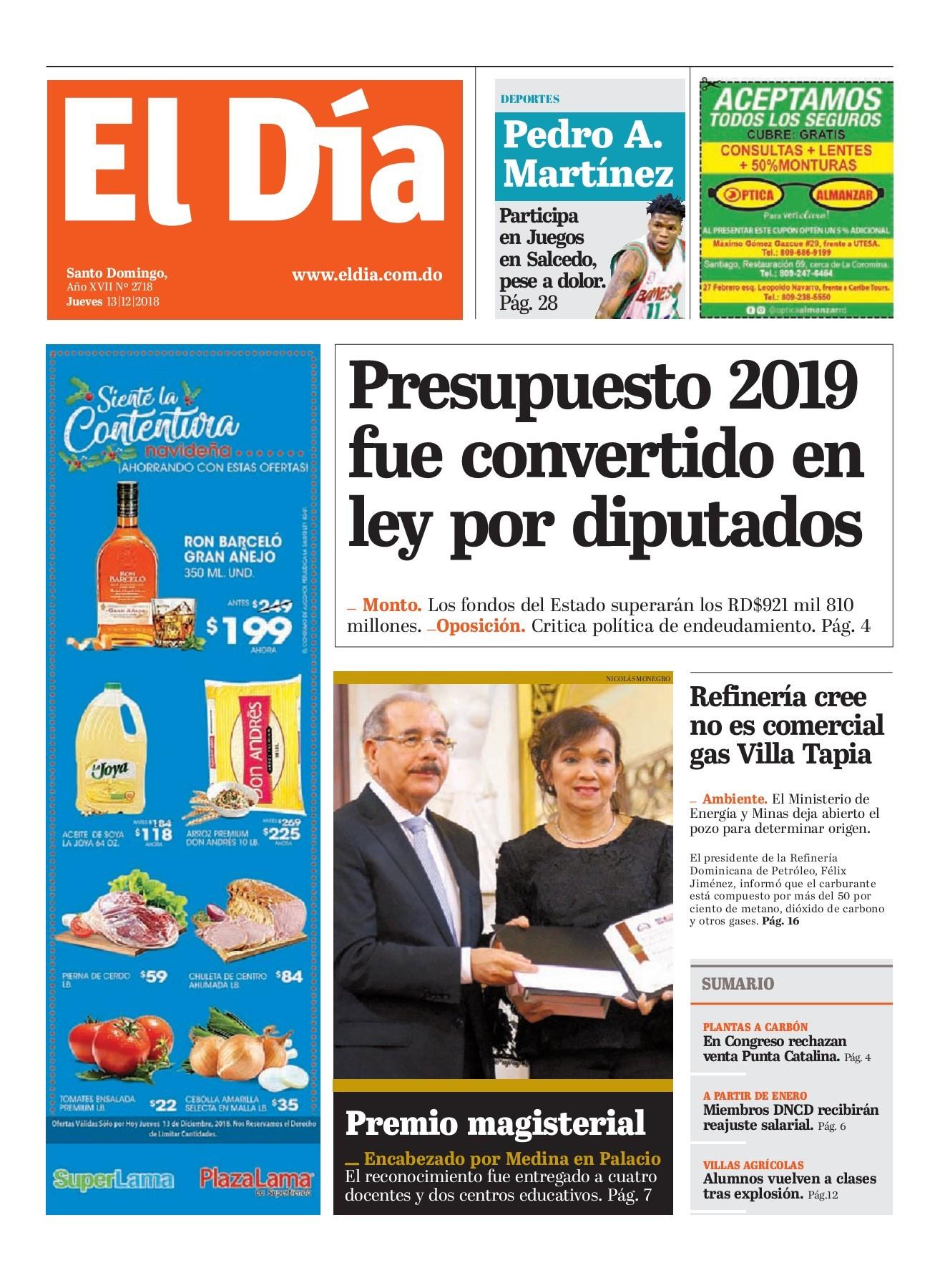 Portada Periódico El Día, Jueves 13 de Diciembre 2018
