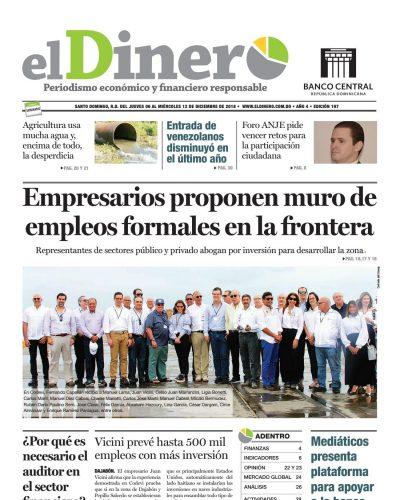 Portada Periódico El Dinero, Jueves 08 de Diciembre 2018