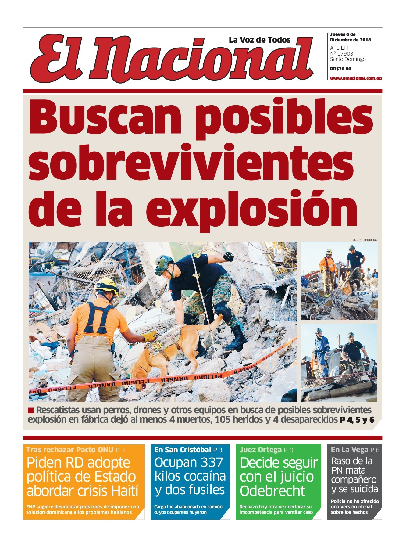 Portada Periódico El Nacional, Jueves 06 de Diciembre 2018