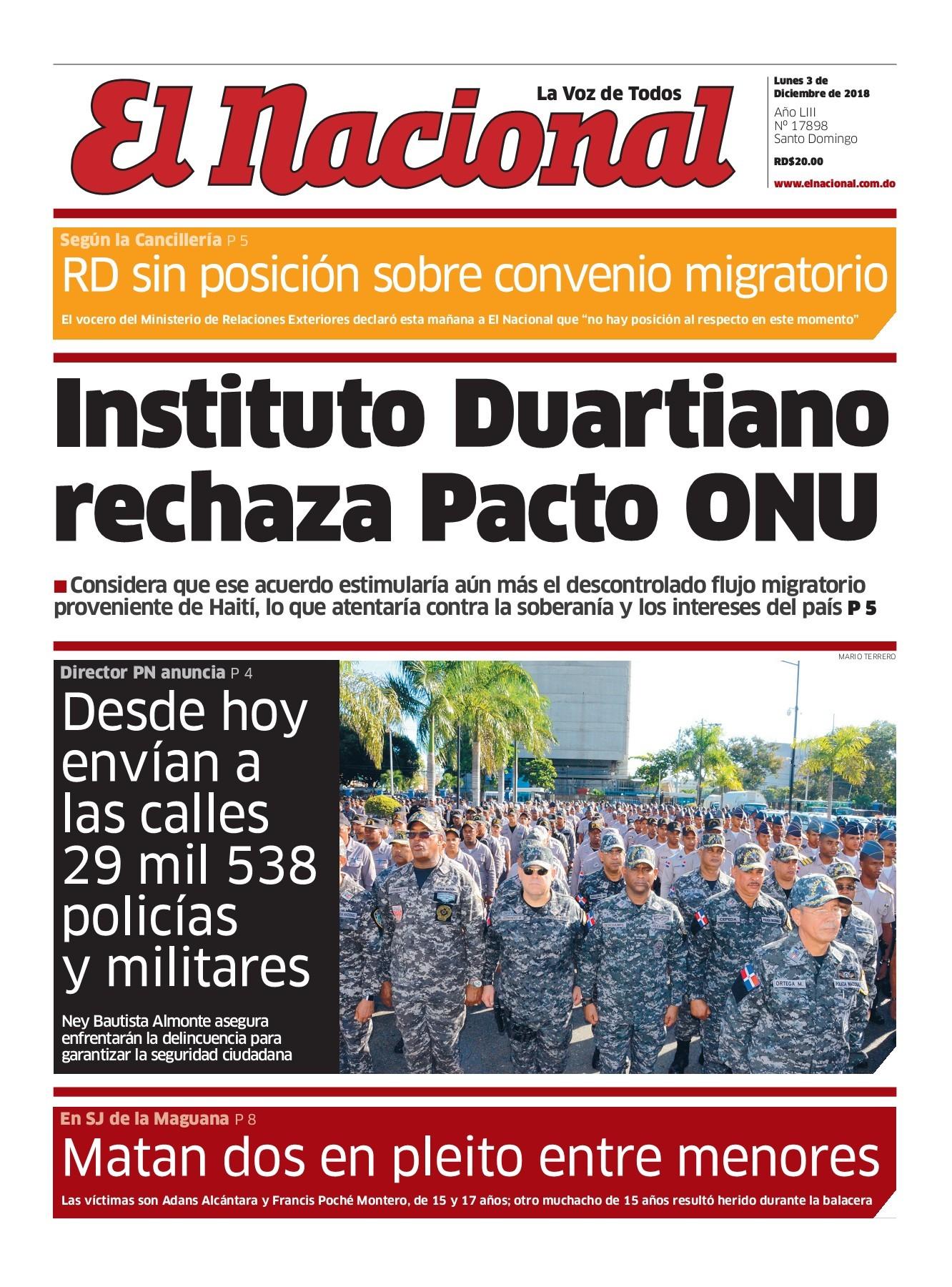 Portada Periódico El Nacional, Lunes 03 de Diciembre 2018