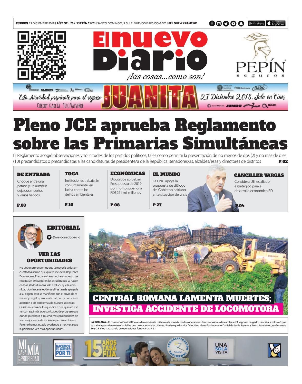 Portada Periódico El Nuevo Diario, Jueves 13 de Diciembre 2018