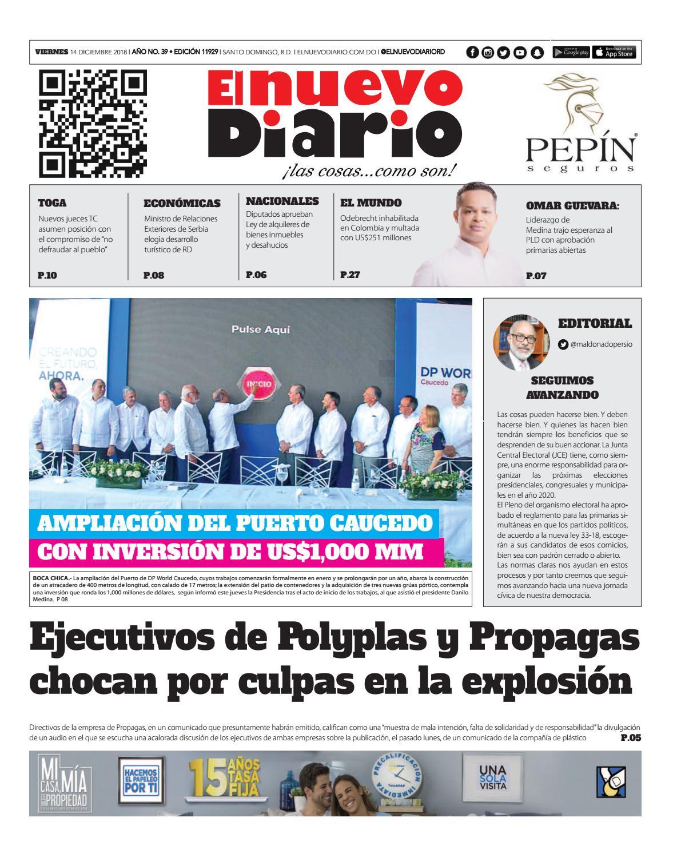 Portada Periódico El Nuevo Diario, Viernes 14 de Diciembre 2018