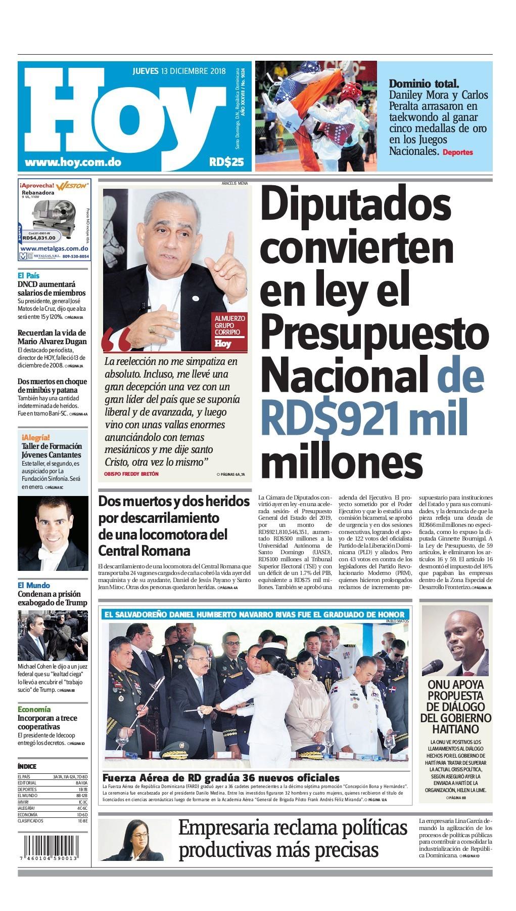 Portada Periódico Hoy, Jueves 13 de Diciembre 2018